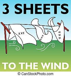 folhas, três, vento