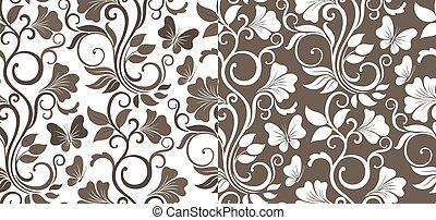 folhas, variations., vetorial, floral, fundo, flores, pattern., gráfico, seamless, luxo, dois