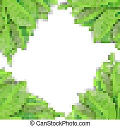 folhas, verde branco, fundo
