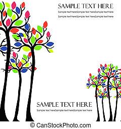 folhas, vetorial, colorido, árvores