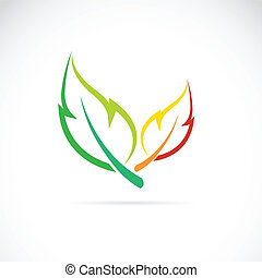 folhas, vetorial, fundo branco, ícone