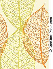 folhas, vetorial, seamless, textura