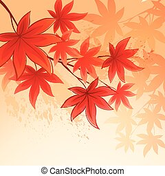 folhas, vetorial, sky., fundo, outono, ilustração