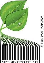 folheia, barcode, drops., ilustração, ecológico, verde, vector., conceitual