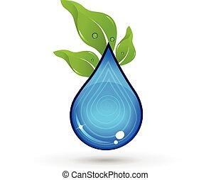 folheia, logotipo, gota, água verde