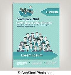 folheto, conferência, ilustração