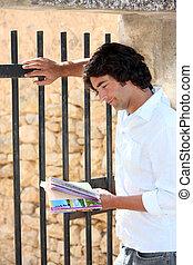 folheto, consultar,  sightseeing