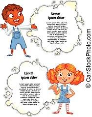 folheto, cute, anunciando, modelo, crianças