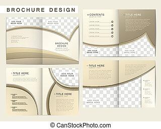 folheto, esquema, vetorial, desenho, modelo