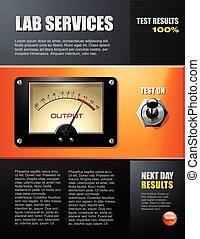 folheto, laboratório ciência, serviço