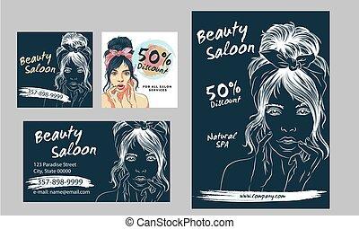 folheto, mulher, padrões, voadores, hand-drawn, graphic., hairdresser., flyers., moda, ilustração, salão, cartões, spa, grande, desenho, vetorial, cartaz, suitable, jogo, revista, beleza