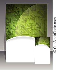 folheto, negócio verde, cartão