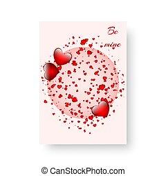 folheto, scarlet, retangular, corações