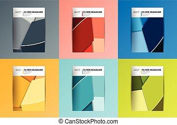 folheto, voador, relatório anual, cobertura, design., vário,...