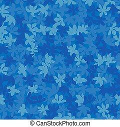 foliage, fundo, flores azuis, modernos, padrão, monotone