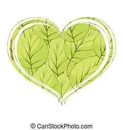 Foliage in the form of heart on a white background