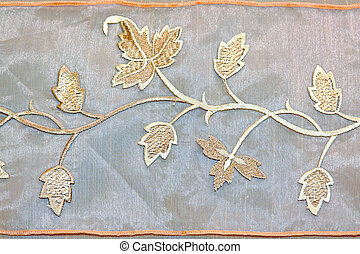 Foliage needlework - Detail shot of table cloth foliage...
