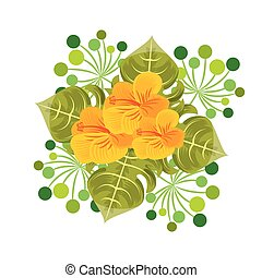 foliage of beautiful flowers design