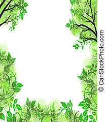 foliage, quadro, com, copyspace