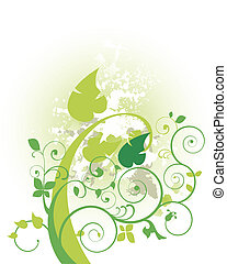 foliage - nature background with grunge design and green...