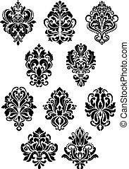 Foliate arabesque design elements