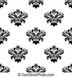 Black and white seamless foliate arabesque pattern suitable for damask with acanthus leaves