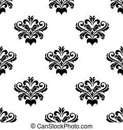 Foliate arabesque pattern for damask - Black and white...