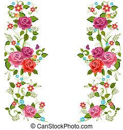 foliate, bordo, con, rose, fiore