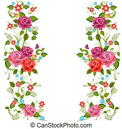 foliate, frontera, con, rosas, flor