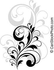 foliate, tourbillonner, conception, joli, élément