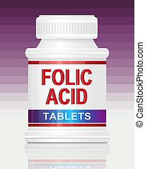 Folic acid. - Illustration depicting a single medication...