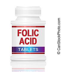 Folic acid. - Illustration depicting a single medication ...