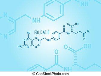 Folic acid or vitamin b9 chemical formula on a blue medical ...