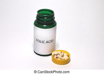 Folic Acid Tablets, White Background