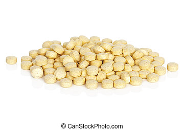 Folic Acid Vitamin Supplements - A pile of folic acid...