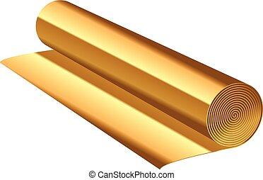 folie, vektor, abbildung, gold