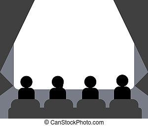 folk, åskådande film, hos, bio, sal