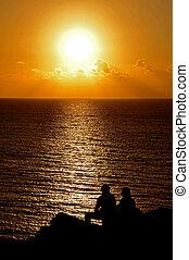 folk, över, ocean, atlanten, silohuetted, solnedgång