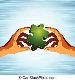 folk, överlåta, a, problem, -, teamwork