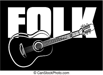 folk acoustic guitar - black and white vector classic guitar