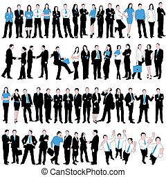 folk affär, silhouettes, sätta, 60