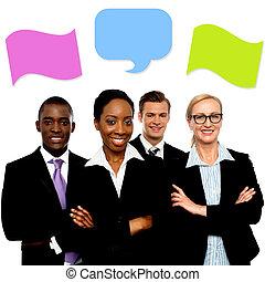 folk, anförande, bubblar, affär