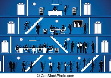folk, arbejder, ind, kontor