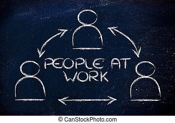 folk arbete, design, med, grupp, av, collaborative, co-workers