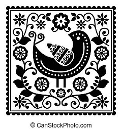 Folk art black pattern with bird - Floral folk design in...