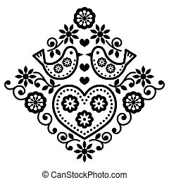 Folk art floral black pattern - Folk monochrome design with...