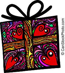 Folk Art Gift Box - A whimsical folk art style Christmas or...