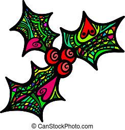 Folk Art Holly Sprig - A whimsical folk art style sprig of...