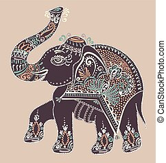 folk art Indian elephant dot painting illustration