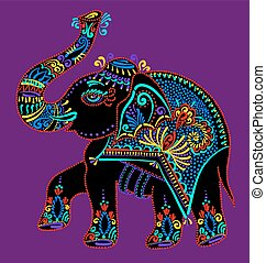 folk art indian elephant, vector dot painting illustration -...